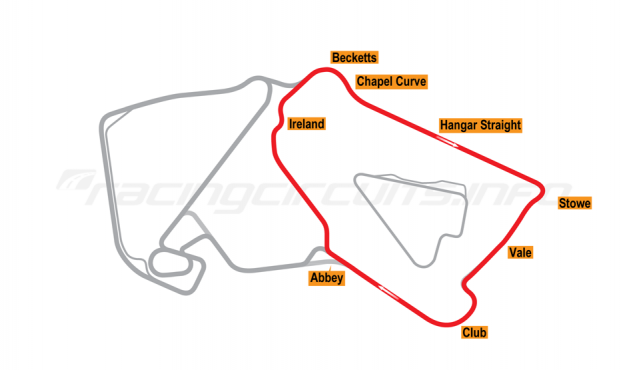 Map of Silverstone, South Circuit 1994-95