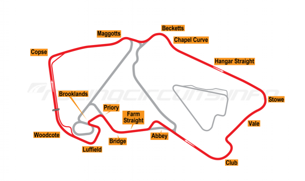Map of Silverstone, Grand Prix Circuit 1996