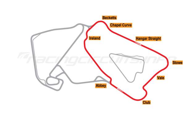 Map of Silverstone, South Circuit 1996