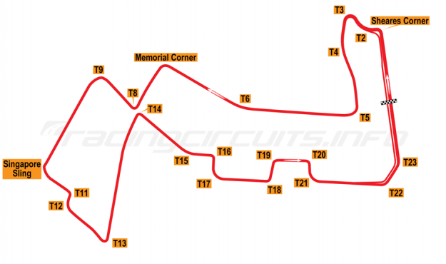 Map of Singapore Marina Bay, Grand Prix Circuit 2013-14