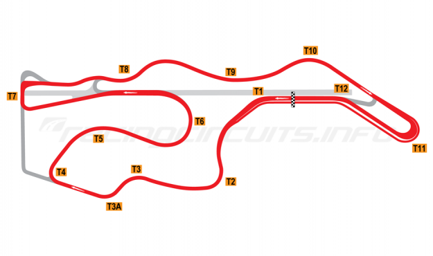 Map of Sonoma Raceway, Long Circuit 2002