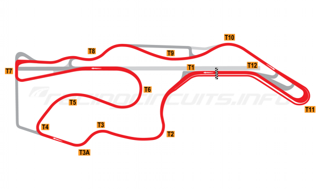 Map of Sonoma Raceway, Long Circuit 2012 to date
