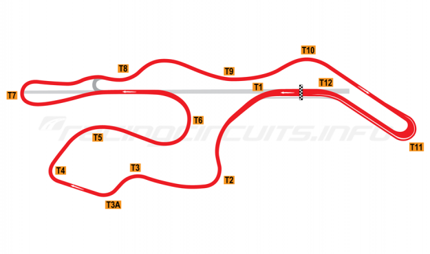 Map of Sonoma Raceway, Long Circuit 1994-97