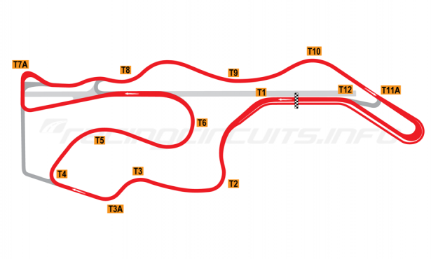 Map of Sonoma Raceway, Alternative Long Circuit 2002