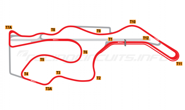 Map of Sonoma Raceway, Alternative Long Circuit 2003-04
