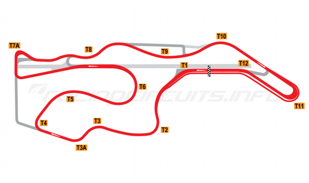 Map of Sonoma Raceway, Alternative Long Circuit 2008-11