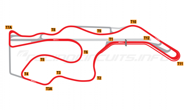 Map of Sonoma Raceway, Alternative Long Circuit 2012 to date