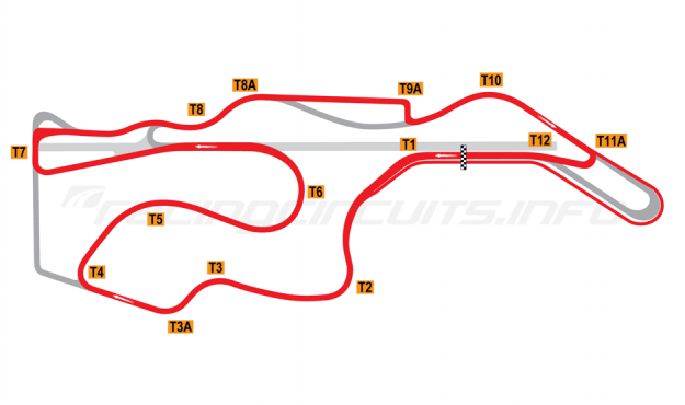 Map of Sonoma Raceway, Alternative Motorcycle Circuit 2003-04