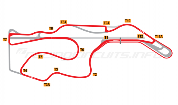 Map of Sonoma Raceway, Alternative Motorcycle Circuit 2012 to date