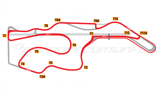 Map of Sonoma Raceway, AMA Motorcycle Circuit 2008-11