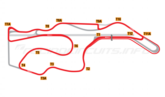 Map of Sonoma Raceway, Indycar Circuit 2005-07
