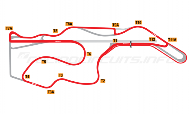 Map of Sonoma Raceway, Indycar Circuit 2008-11