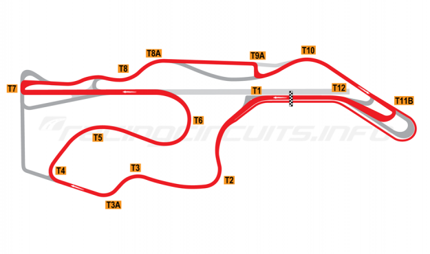 Map of Sonoma Raceway, 2012 to date