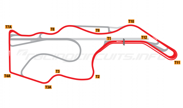Map of Sonoma Raceway, Nascar Circuit 2012 to date