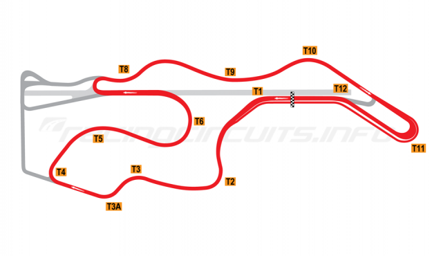 Map of Sonoma Raceway, Short Circuit 2002