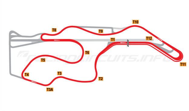 Map of Sonoma Raceway, Short Circuit 2012 to date
