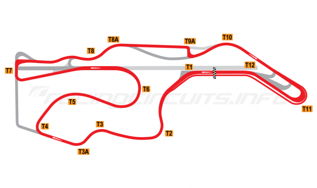 Map of Sonoma Raceway, WTCC Circuit 2012 to date