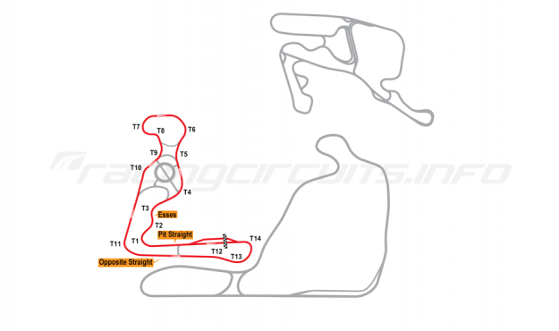 Map of Summit Point, Jefferson Extended Circuit 2014 to date