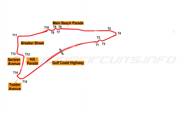 Map of Surfers Paradise, Street Circuit 2010-12