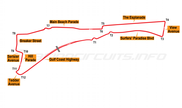 Map of Surfers Paradise, Street Circuit 1993-94