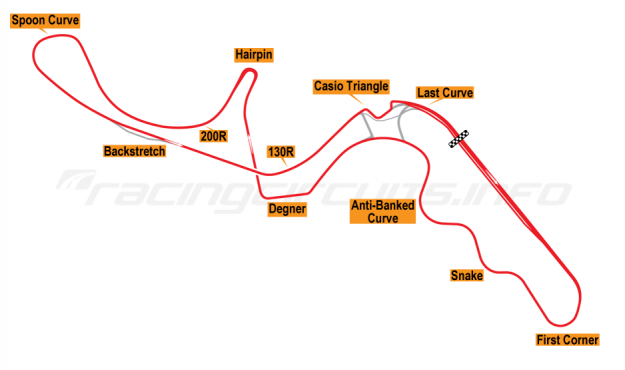 Map of Suzuka, Motorcycle Grand Prix Circuit 2003