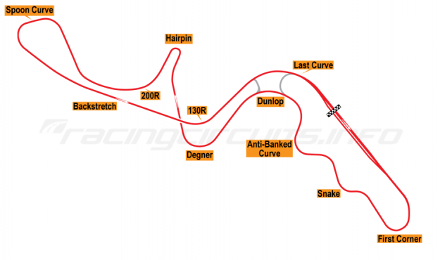 Map of Suzuka, Grand Prix Circuit 1976-82