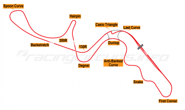 Map of Suzuka, Grand Prix Circuit 1985-86