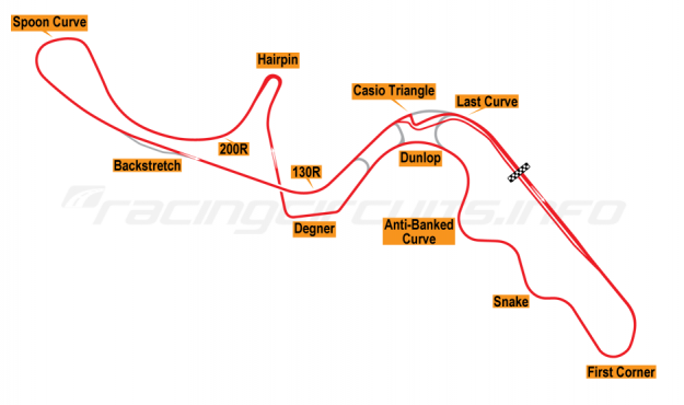 Map of Suzuka, Grand Prix Circuit 1987-90