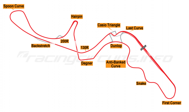 Map of Suzuka, Grand Prix Circuit 2004-08