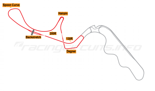 Map of Suzuka, West Shortcut Circuit 1991-99