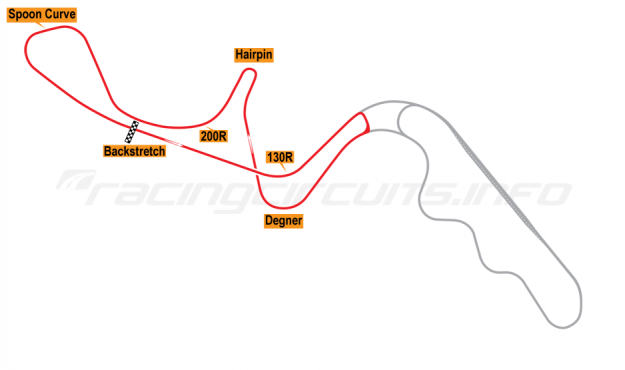 Map of Suzuka, West Circuit 1976-82