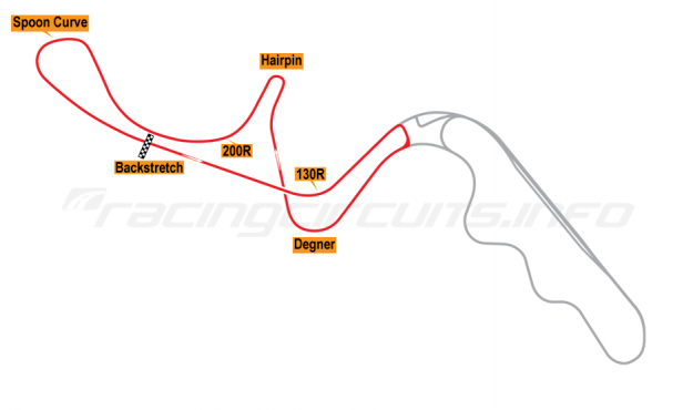 Map of Suzuka, West Circuit 1984