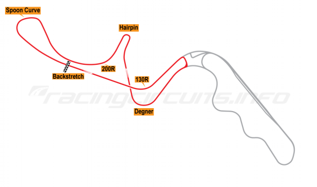 Map of Suzuka, West Circuit 1985-86