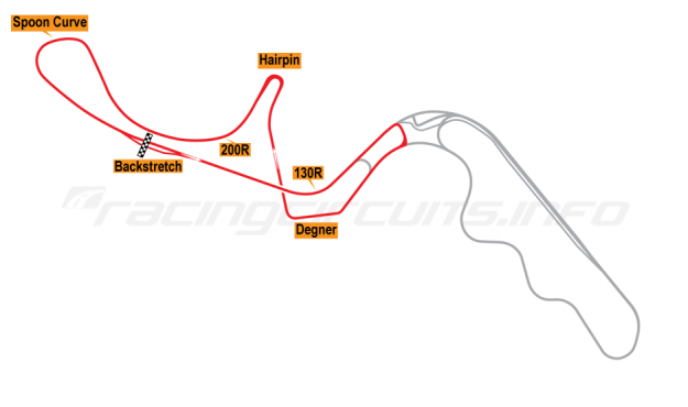 Map of Suzuka, West Circuit 1987-90