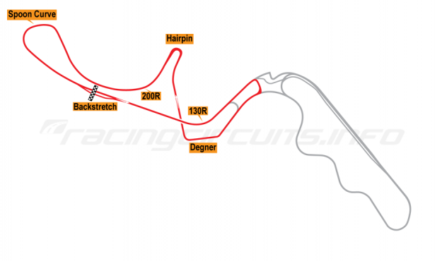 Map of Suzuka, West Circuit 1991-99