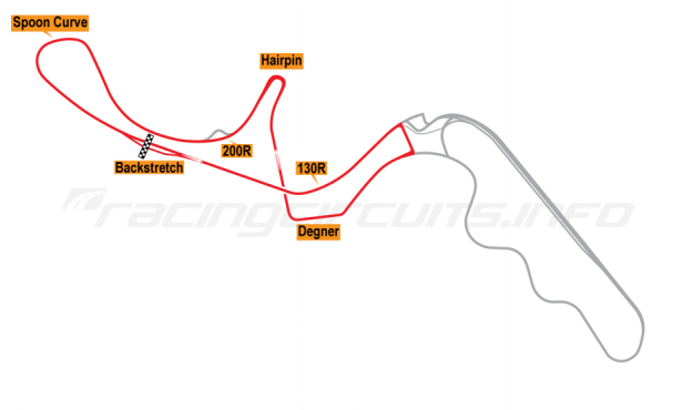 Map of Suzuka, West Circuit 2009 to date