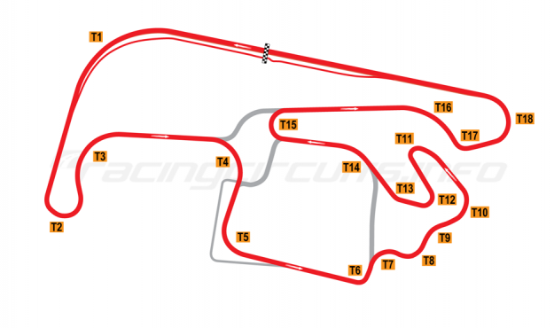 Map of Sydney Motorsport Park, Brabham Circuit 2012 to date