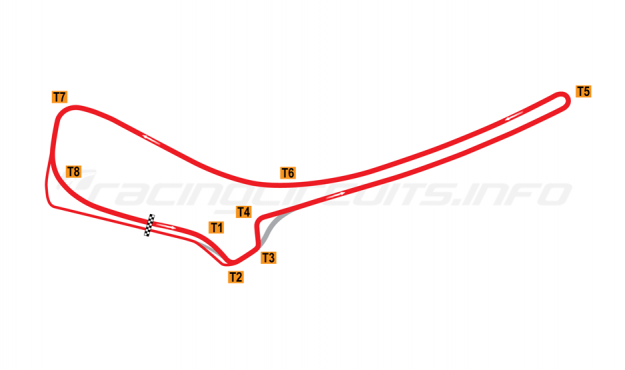 Map of Symmons Plains, Bike Circuit 2004 to date