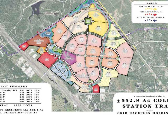 A plan of the new housing development which will replace Texas World Speedway.