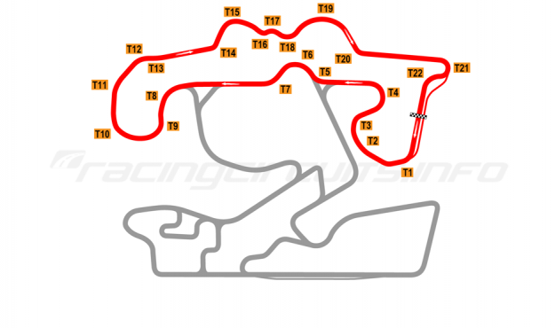 Map of The Bend Motorsport Park, East Circuit 2018 to date