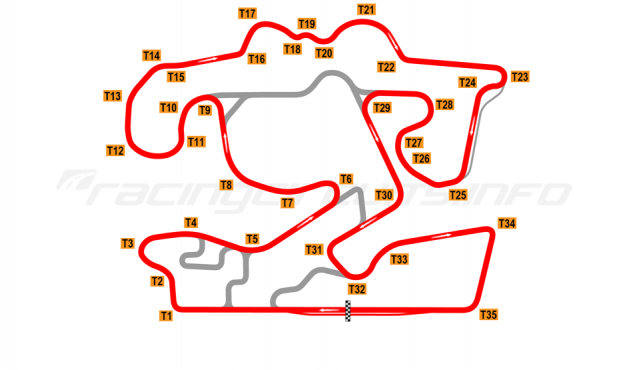 Map of The Bend Motorsport Park, GT Circuit 2018 to date