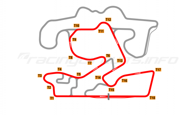 Map of The Bend Motorsport Park, 2018 to date