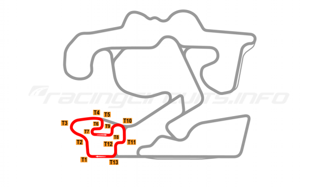 Map of The Bend Motorsport Park, North Circuit 2018 to date