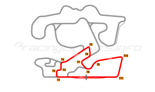 Map of The Bend Motorsport Park, Sprint Circuit 2018 to date