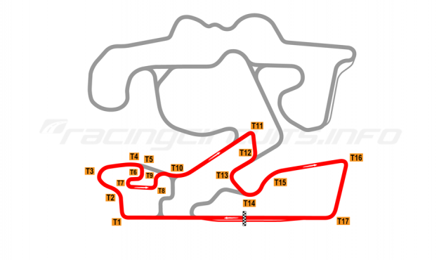 Map of The Bend Motorsport Park, West Plus Circuit 2018 to date