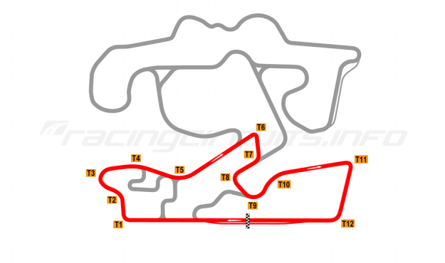 Map of The Bend Motorsport Park, West Circuit 2018 to date