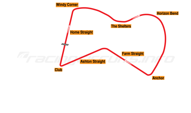 Map of Thruxton, Main circuit 1950-52