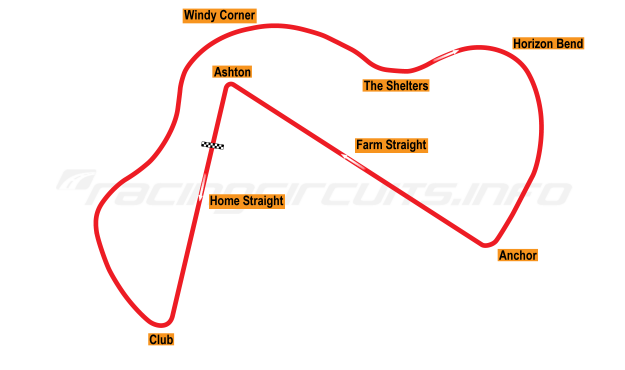 Map of Thruxton, Main circuit 1953-64