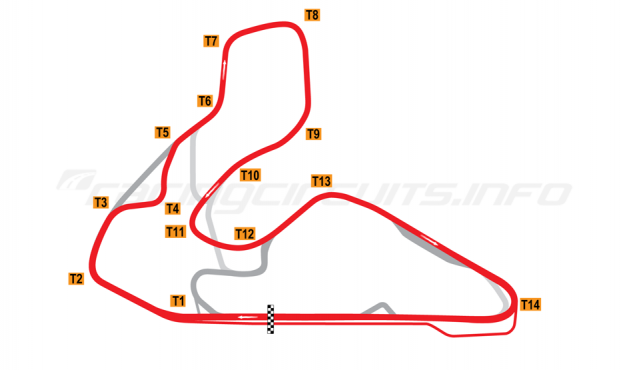 Map of Wakefield Park, Alternative full circuit 2000 to date