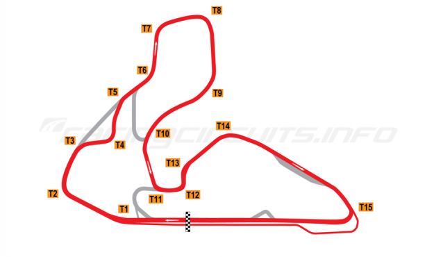 Map of Wakefield Park, Alternative full circuit 1994-99